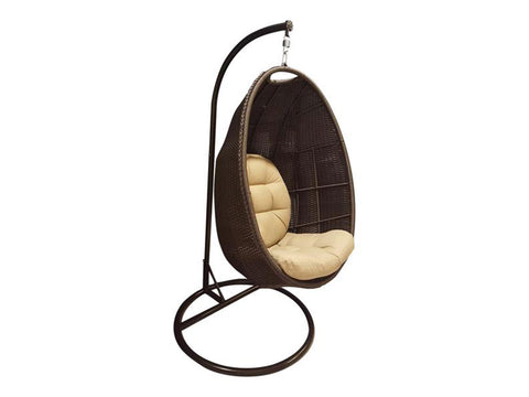Brown Wicker Basket Hanging Swing Chair with Stand