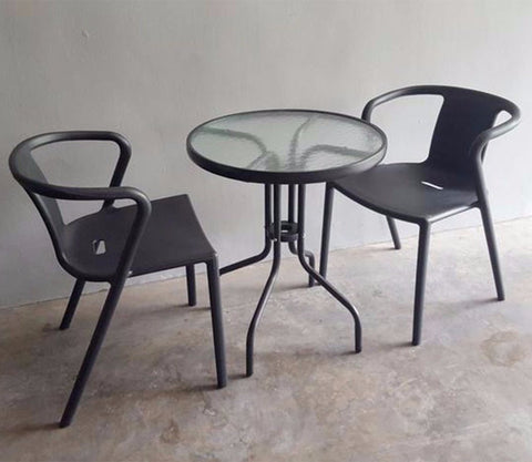 SLEEK cafe balcony set with 2 black chairs and a table