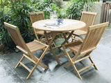 Round folding teak wood table set with folding chairs for outdoor