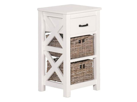 Valerie side table with 1 drawer and 2 rattan baskets  Apps   Save