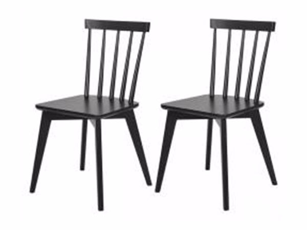 Set of 2, Linkoping black wooden dining room chair