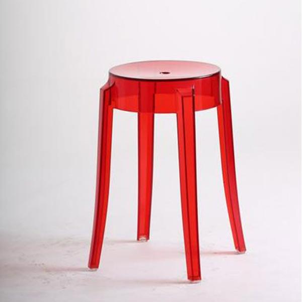 red transparent stool
