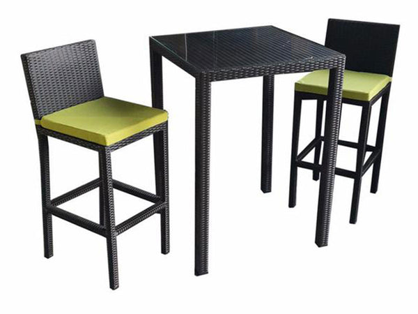 outdoor wicker bar table and chair set