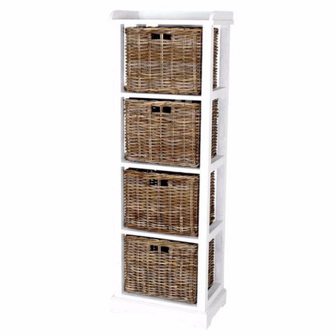 white chest with rattan basket drawers