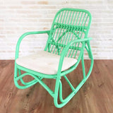Serena rattan rocking chair, mint, with cushion