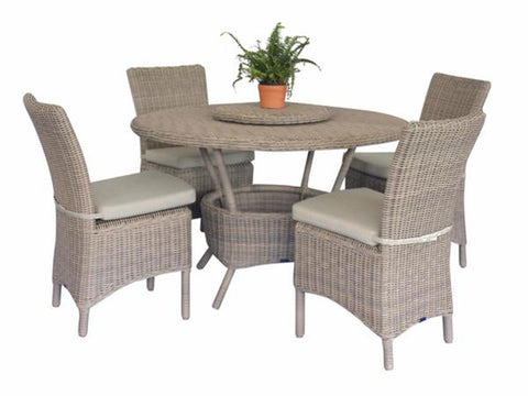 wicker dining set round table 4 chairs
