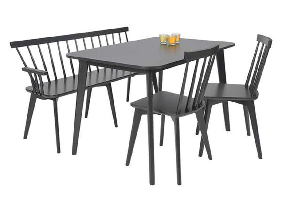 Linkoping 4 Piece Dining Set With 120x80 Black Table A Bench And 2 Chairs