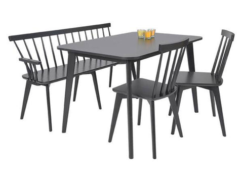 Scandinavian style Black wooden dining set with bench and chairs