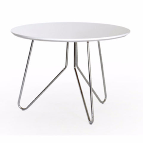 white round side table with steel hairpin legs