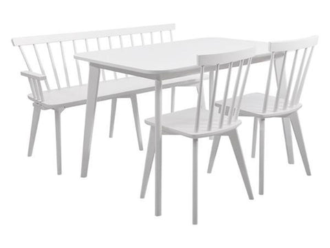 wooden white rounded corner scandinavian dining set with bench