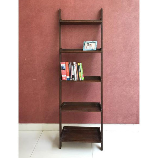 leaning shelves walnut dark wood