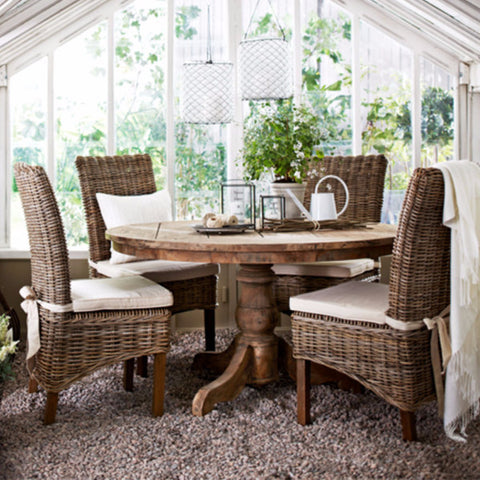 Teak dining table with rattan chairs set