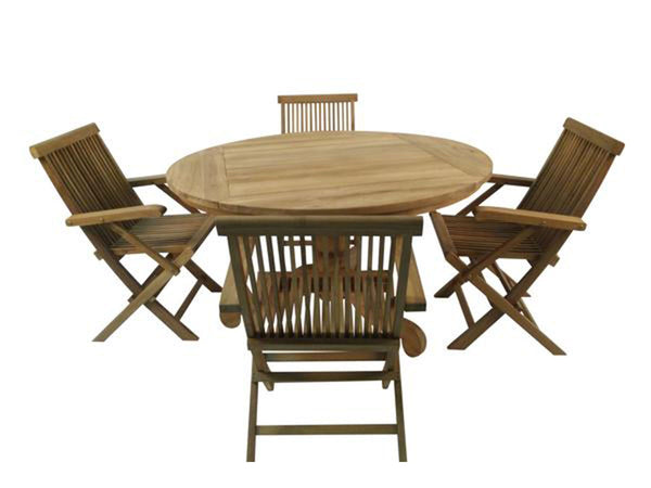Rustique round teak wood outdoor dining table 135cm with 4 teak armchairs