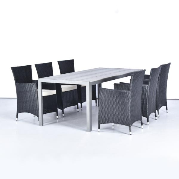 Brentwood - Outdoor Dining Set 200x90cm grey table +6 chairs