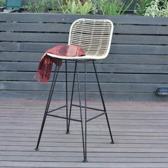 rattan bar chair with metal legs