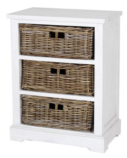 white painted country style cabinet chest of rattan basket drawers singapore