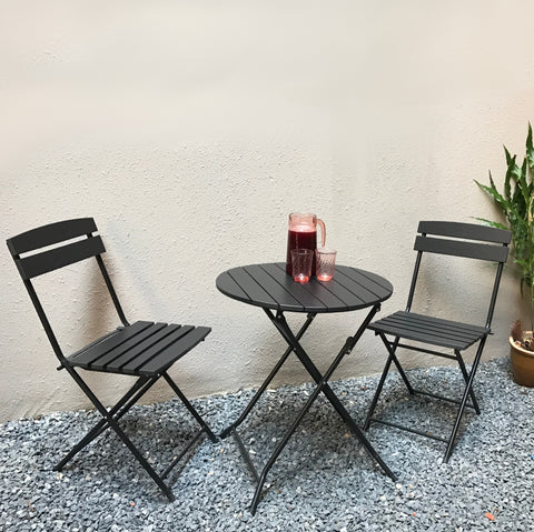 BISTRO folding outdoor cafe set, black