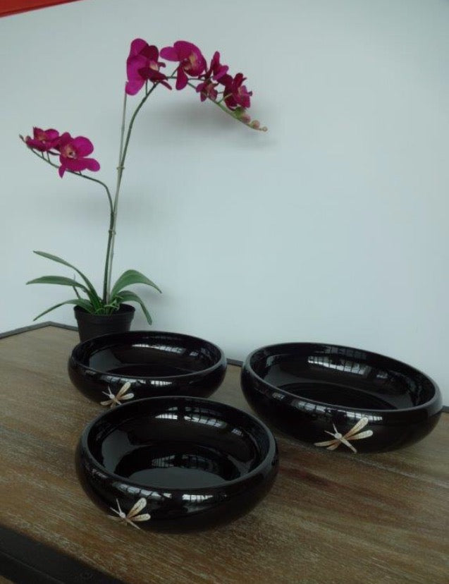 Lacquerware fruit bowl dragonfly