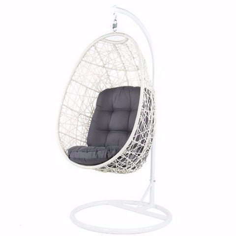 Criss Cross White Wicker Hanging Egg Chair with seat cushion