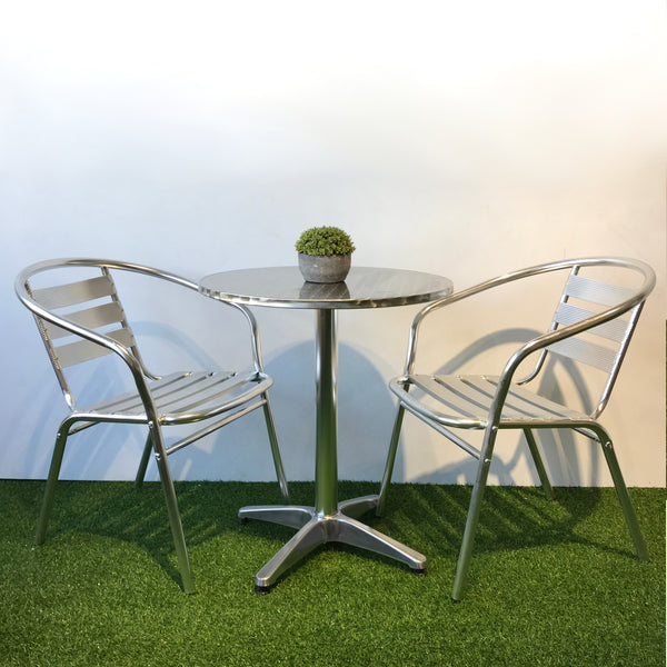 Aluminium cafe balcony set with 2 chairs