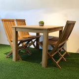 outdoor dining set in teak wood
