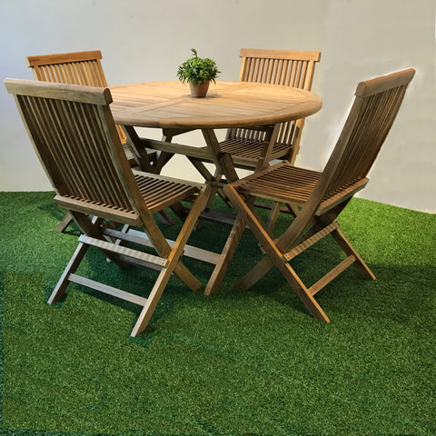 Java folding round teaktable 110 cm with 4 pc folding teak folding sidechair.