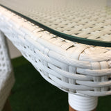 Luca white wicker outdoor dining set