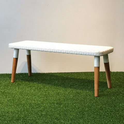 Luca wicker outdoor bench white