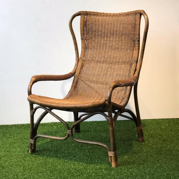 natural wicker lounger armchair