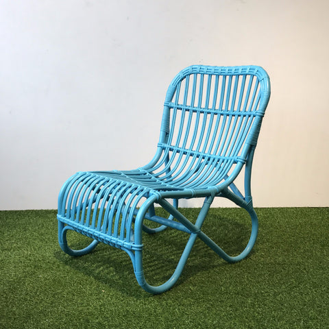 Coronado blue painted cane lounge chair