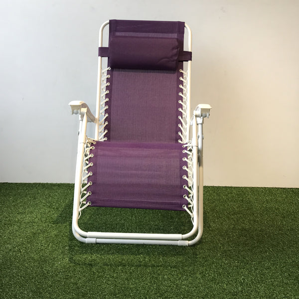 Foldable Reclining Zero Gravity Chair Purple With White