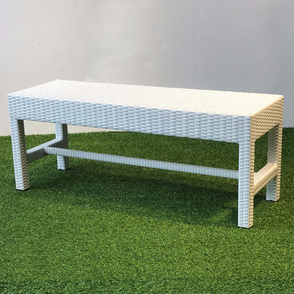 white outdoor wicker bench singapore