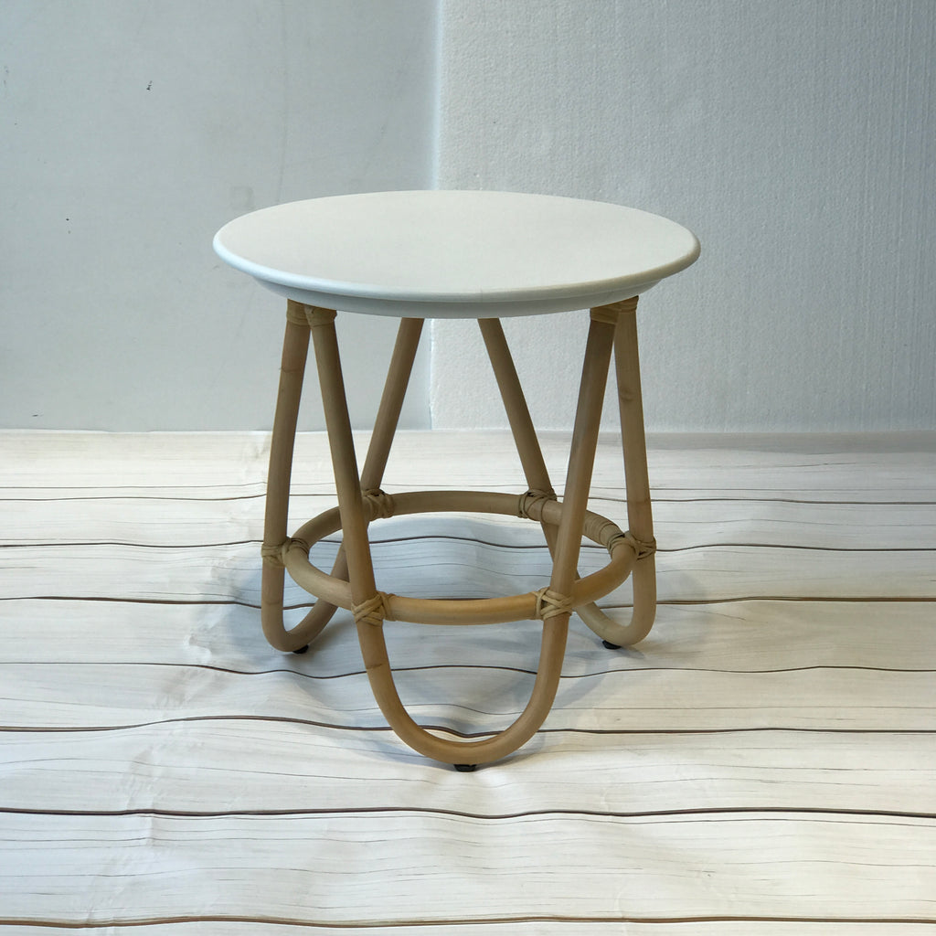 Poppy rattan side table, white top