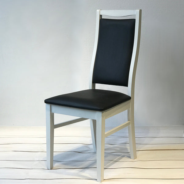 comfortable wooden dining chair in black and white