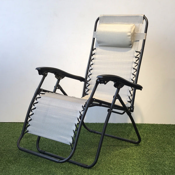 silver and black reclining chair