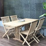 Compact small teak extendable table set