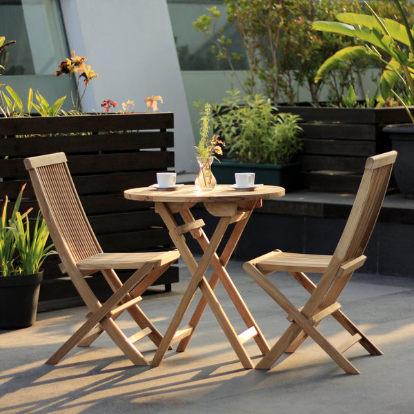 Java round 70cm folding teak table set with 2 folding chair