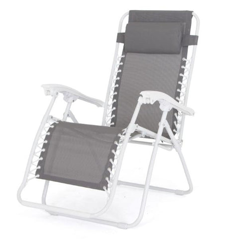Foldable Reclining Zero Gravity Chair, Taupe with white frame