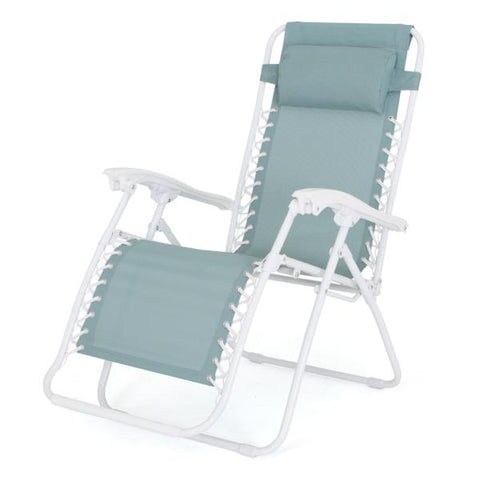 Foldable Reclining Zero Gravity Chair, Light Green with white frame