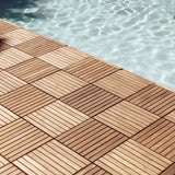 Teak outdoor tiles, pack of 10 tiles