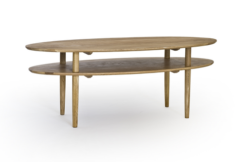 Oval oak retro vintage scandinavian coffee table