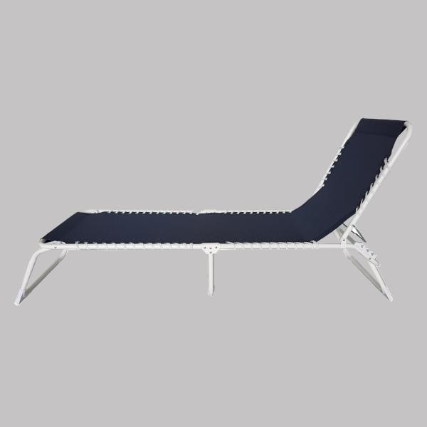 Foldable Sun Lounger, Marine Blue with white frame