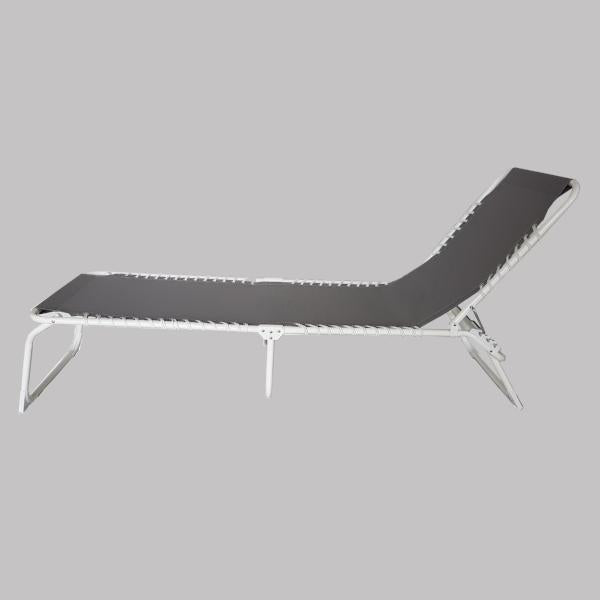 Foldable Sun Lounger, Taupe with white frame