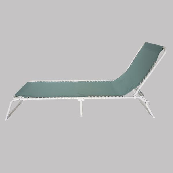 Foldable Sun Lounger, Light Green with white frame
