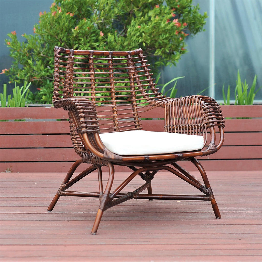 William rattan chair with dark varnish