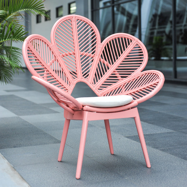 pink rattan chair