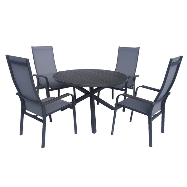Pisa black outdoor aluminium dining set with round table and reclining chairs