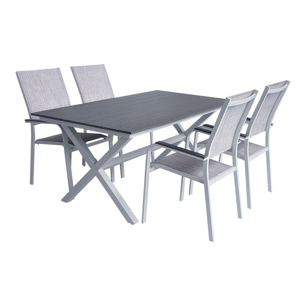 Milano outdoor aluminium table 160x90 with 4 stackable chairs
