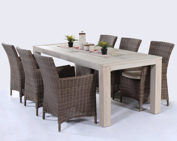 Ottawa 1+6 , teak table and synthetic rattan dining set