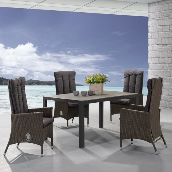 outdoor dining set with recliner chair